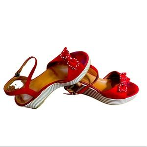Anthropologie Schmoove Ariel Ankle Red Suede Wedge